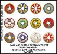 DAP(GB)6 Plastic Dark Age Warriors Shield Designs Six (12) GOTHS