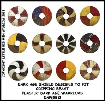 DAP(GB)3 Plastic Dark Age Warriors Shield Designs Three (12)