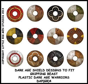 DAP(GB)4 Plastic Dark Age Warriors Shield Designs Four (12)