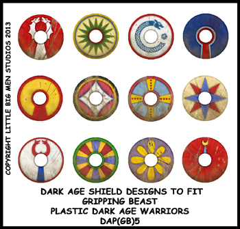 DAP(GB)5 Plastic Dark Age Warriors Shield Designs Five (12) GOTHS