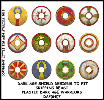 DAP(GB)7 Plastic Dark Age Warriors Shield Designs Seven (12) GOTHS