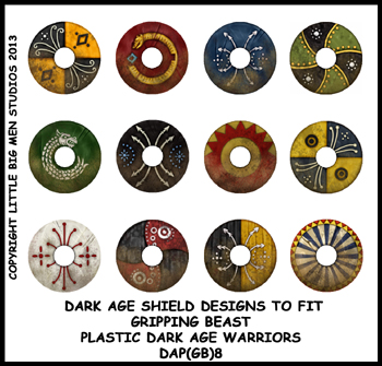 DAP(GB)8 Plastic Dark Age Warriors Shield Designs Eight (12)