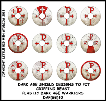 DAP(GB)10 Plastic Dark Age Warriors Shield Designs Ten (12) ROMANO BRIT / LATE ROMAN
