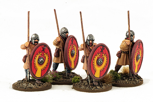 LR10 Late Roman Unarmoured Infantry (Helmets) (Advancing) (4)